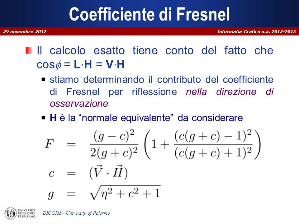 Informatia Grafica a.a. 2012-2013 DICGIM – University of Palermo Coefficiente di Fresnel Il calcolo esatto tiene conto del fatto che cos = L H = V H s