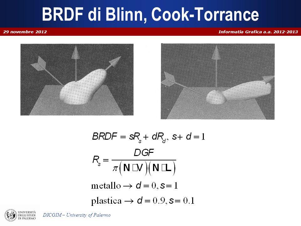 Informatia Grafica a.a. 2012-2013 DICGIM – University of Palermo BRDF di Blinn, Cook-Torrance 29 novembre 2012