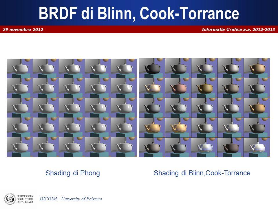 Informatia Grafica a.a. 2012-2013 DICGIM – University of Palermo BRDF di Blinn, Cook-Torrance Shading di PhongShading di Blinn,Cook-Torrance 29 novemb