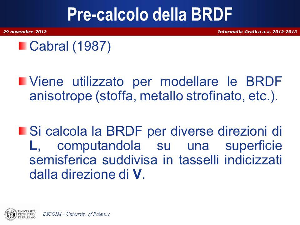 Informatia Grafica a.a. 2012-2013 DICGIM – University of Palermo Pre-calcolo della BRDF Cabral (1987) Viene utilizzato per modellare le BRDF anisotrop