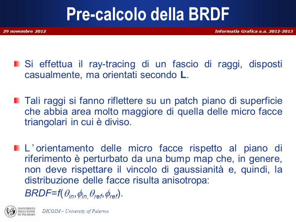 Informatia Grafica a.a. 2012-2013 DICGIM – University of Palermo Pre-calcolo della BRDF Si effettua il ray-tracing di un fascio di raggi, disposti cas