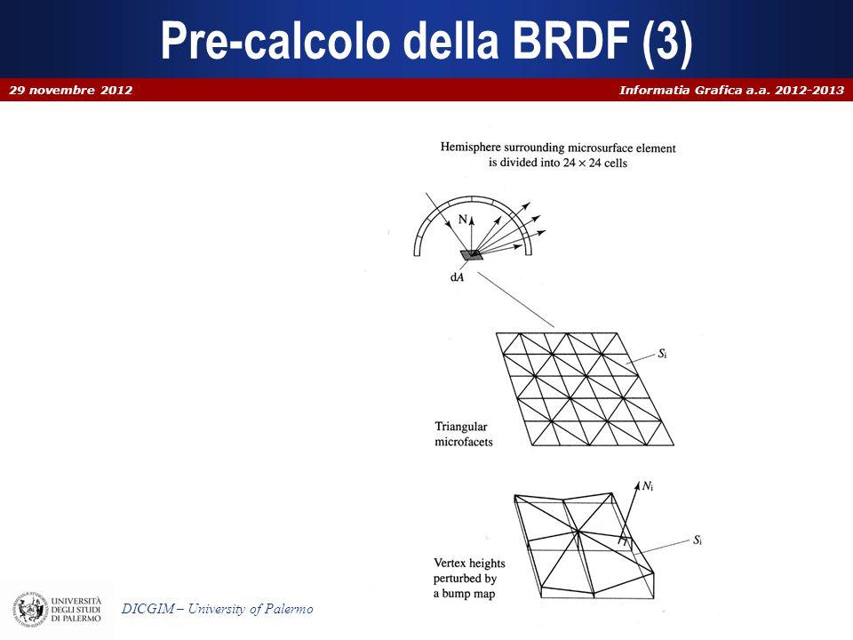 Informatia Grafica a.a. 2012-2013 DICGIM – University of Palermo Pre-calcolo della BRDF (3) 29 novembre 2012