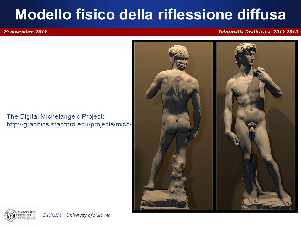 Informatia Grafica a.a. 2012-2013 DICGIM – University of Palermo Modello fisico della riflessione diffusa 29 novembre 2012 The Digital Michelangelo Pr