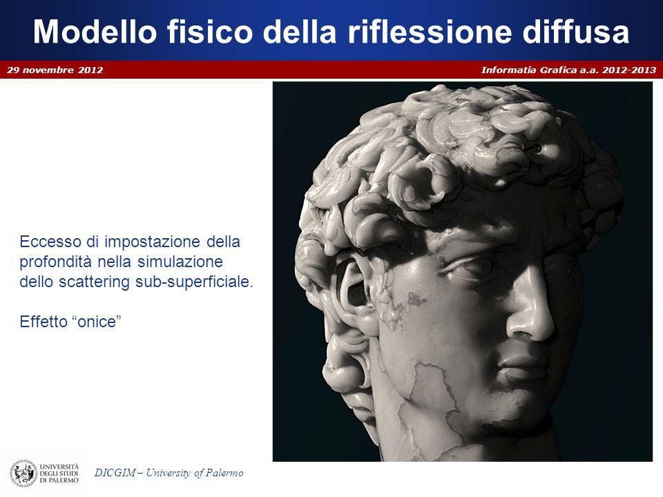 Informatia Grafica a.a. 2012-2013 DICGIM – University of Palermo Modello fisico della riflessione diffusa 29 novembre 2012 Eccesso di impostazione del