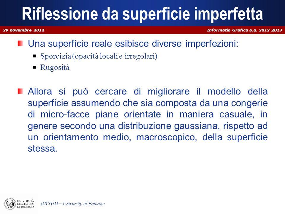 Informatia Grafica a.a. 2012-2013 DICGIM – University of Palermo Riflessione da superficie imperfetta Una superficie reale esibisce diverse imperfezio