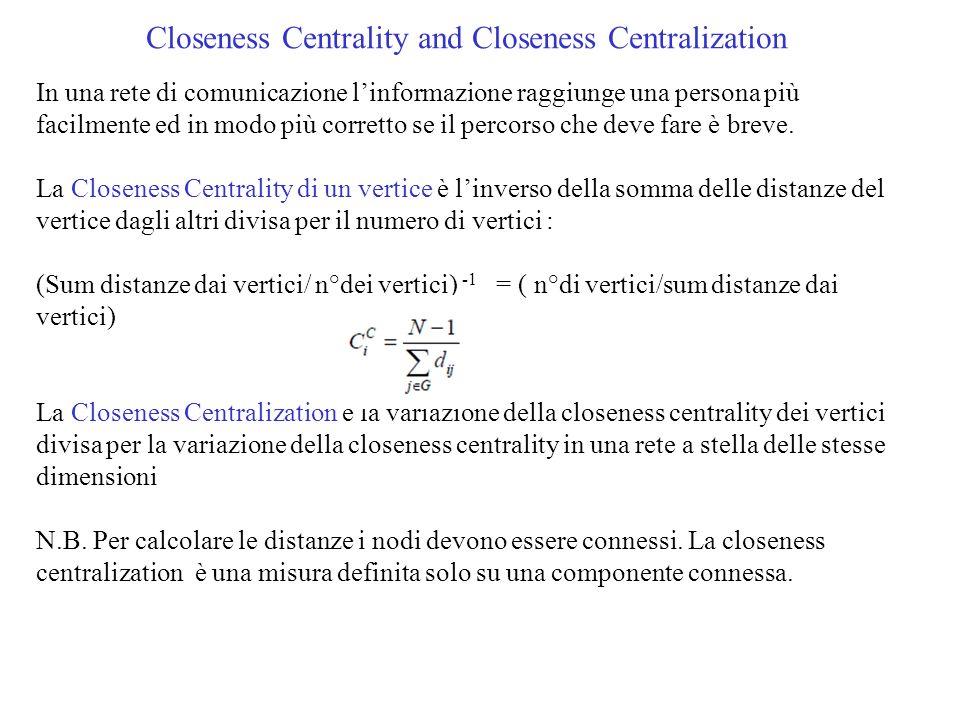 Closeness Centrality and Closeness Centralization In una rete di comunicazione linformazione raggiunge una persona più facilmente ed in modo più corre