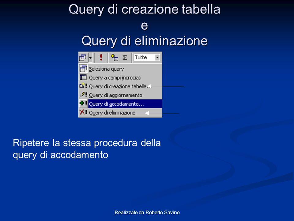 Realizzato da Roberto Savino Query di creazione tabella e Query di eliminazione Ripetere la stessa procedura della query di accodamento