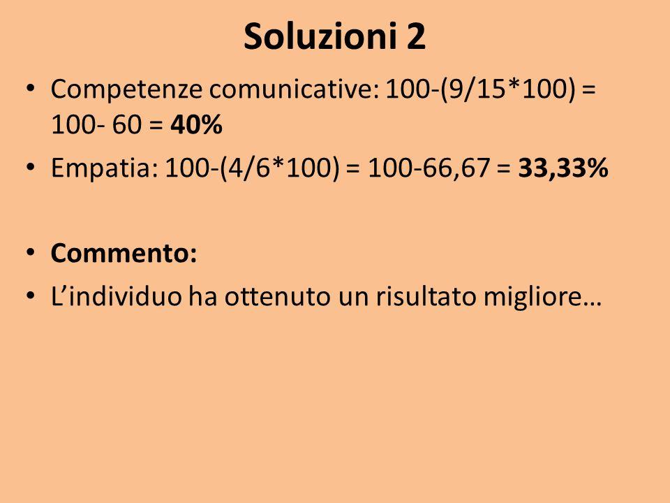 Soluzioni 2 Competenze comunicative: 100-(9/15*100) = 100- 60 = 40% Empatia: 100-(4/6*100) = 100-66,67 = 33,33% Commento: Lindividuo ha ottenuto un ri