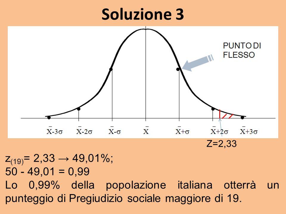 Soluzione 3 z (19) = 2,33 49,01%; 50 - 49,01 = 0,99 Lo 0,99% della popolazione italiana otterrà un punteggio di Pregiudizio sociale maggiore di 19.