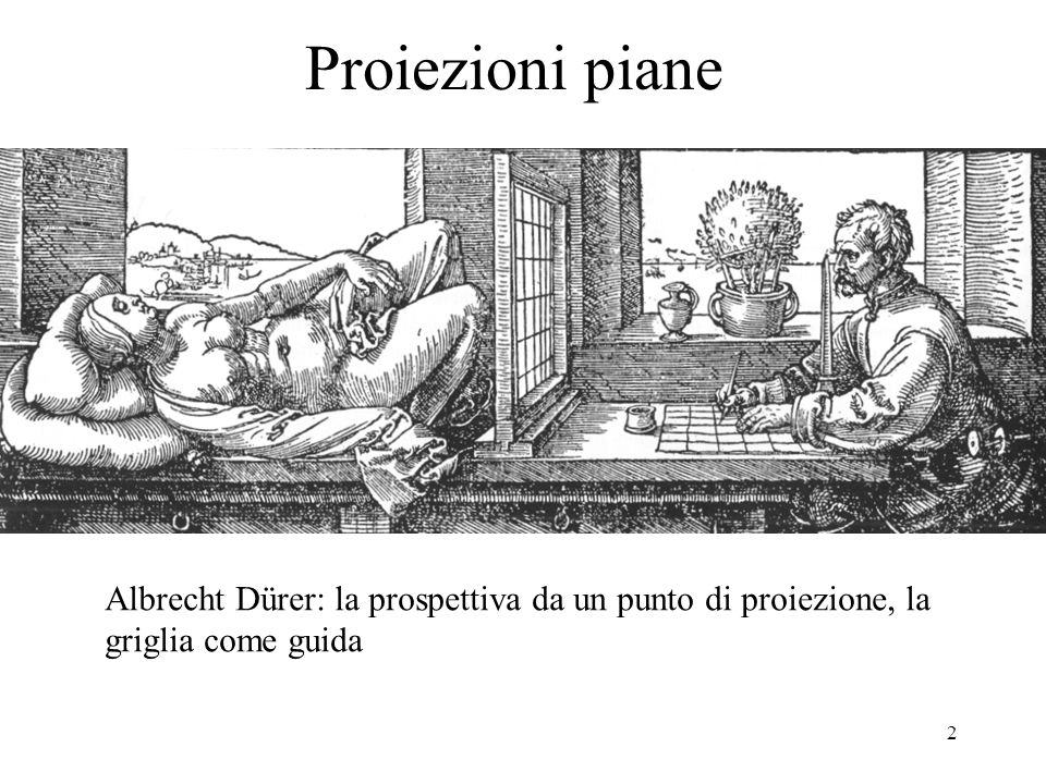 2 Proiezioni piane Albrecht Dürer: la prospettiva da un punto di proiezione, la griglia come guida