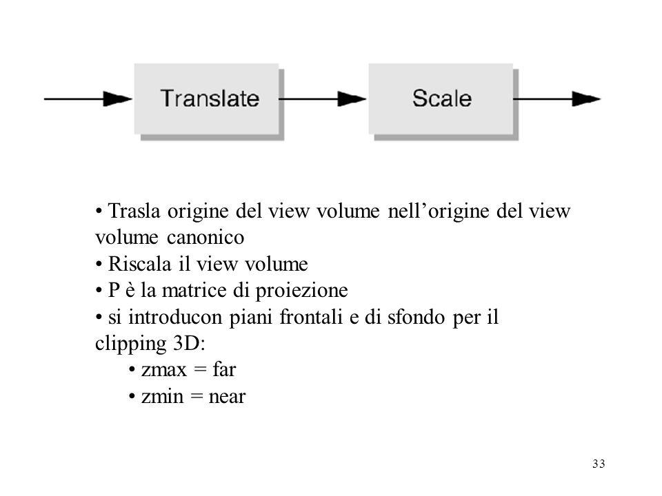 33 Trasla origine del view volume nellorigine del view volume canonico Riscala il view volume P è la matrice di proiezione si introducon piani frontal