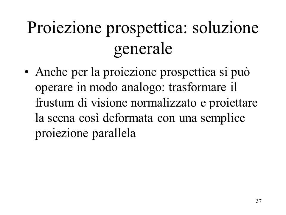 Proiezione prospettica: soluzione generale Anche per la proiezione prospettica si può operare in modo analogo: trasformare il frustum di visione norma