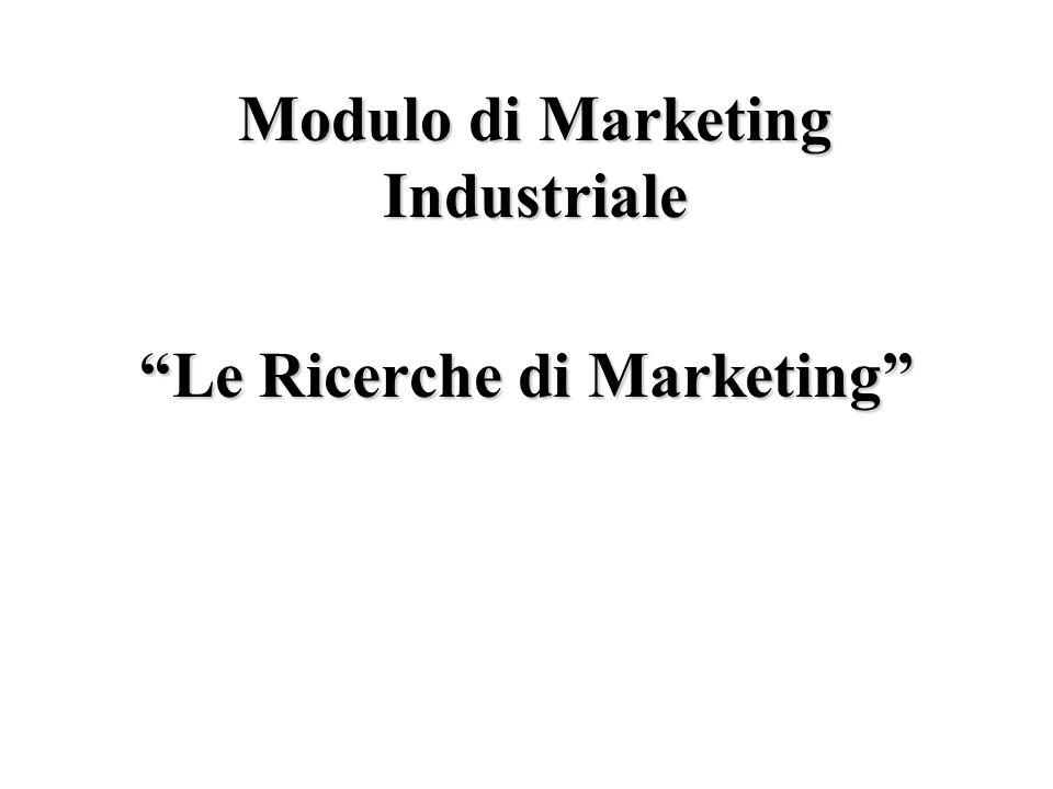 Le Ricerche di Marketing Modulo di Marketing Industriale