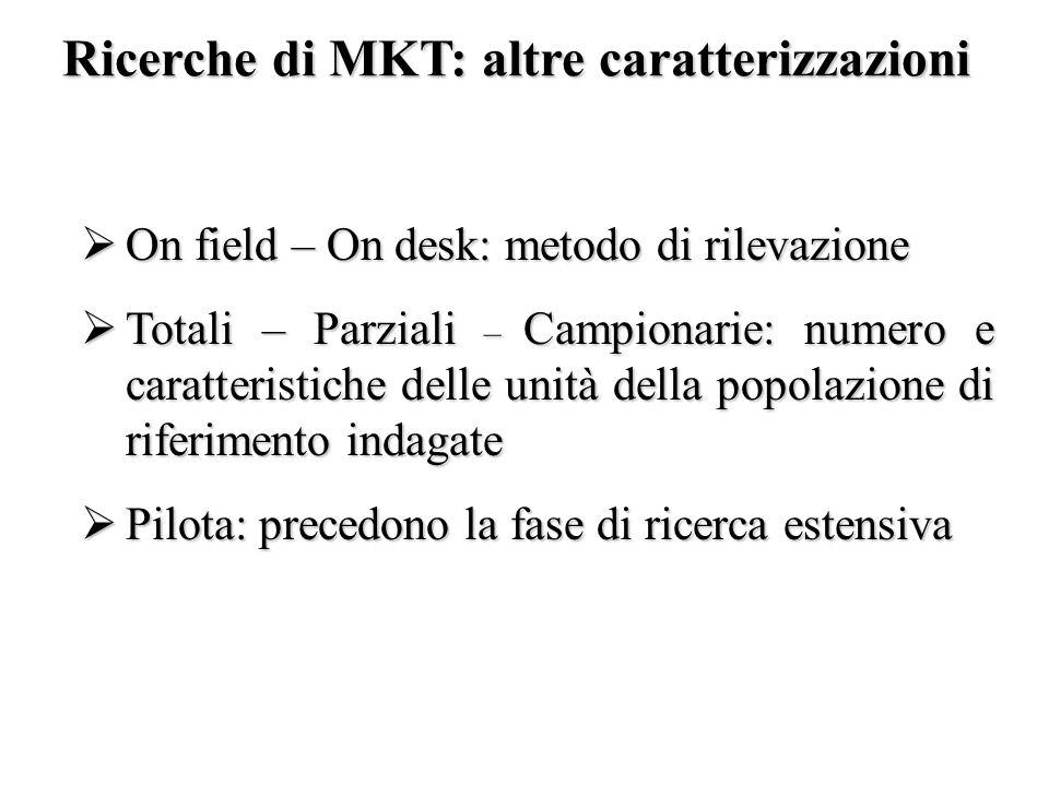 Ricerche di MKT: altre caratterizzazioni On field – On desk: metodo di rilevazione On field – On desk: metodo di rilevazione Totali – Parziali – Campi