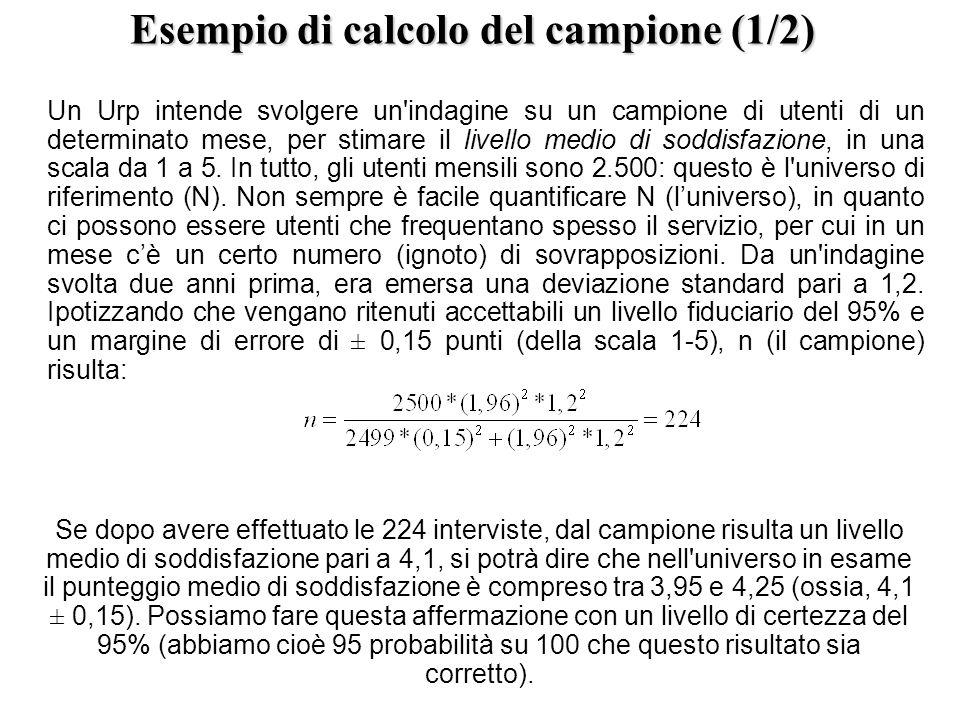 Esempio di calcolo del campione (1/2) Un Urp intende svolgere un'indagine su un campione di utenti di un determinato mese, per stimare il livello medi