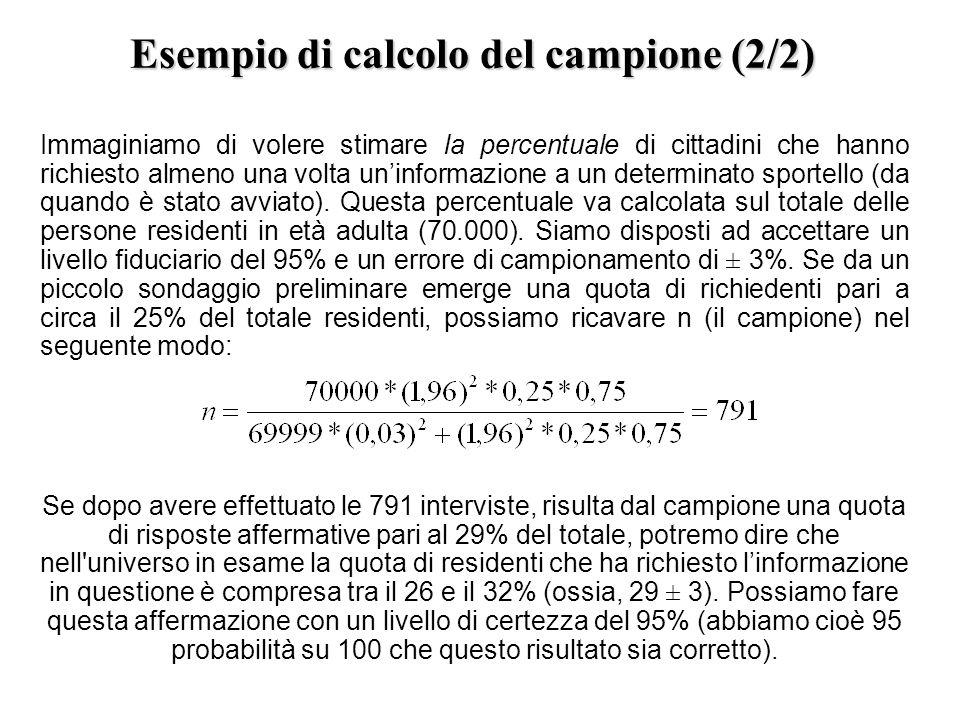 Esempio di calcolo del campione (2/2) Immaginiamo di volere stimare la percentuale di cittadini che hanno richiesto almeno una volta uninformazione a