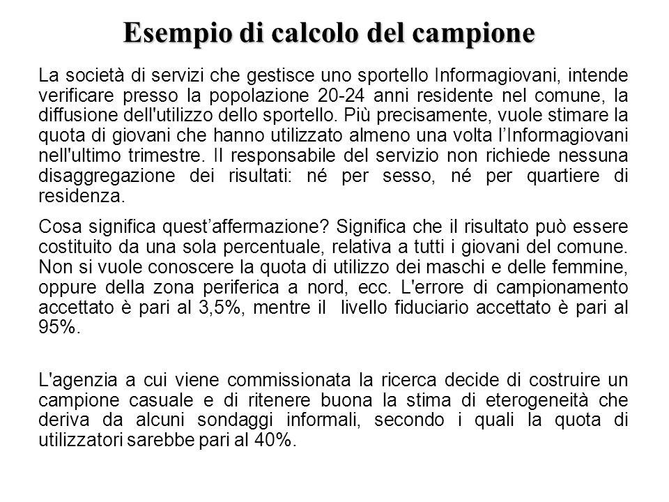 Esempio di calcolo del campione La società di servizi che gestisce uno sportello Informagiovani, intende verificare presso la popolazione 20-24 anni r