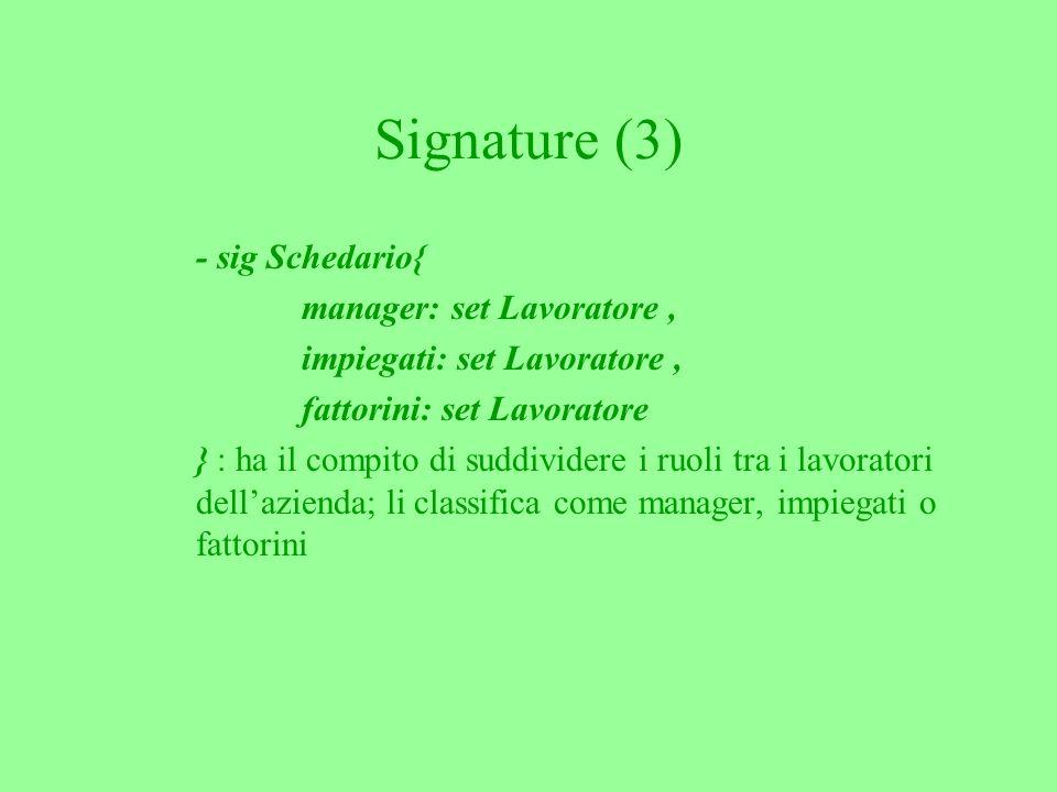 Signature (3) - sig Schedario{ manager: set Lavoratore, impiegati: set Lavoratore, fattorini: set Lavoratore } : ha il compito di suddividere i ruoli tra i lavoratori dellazienda; li classifica come manager, impiegati o fattorini