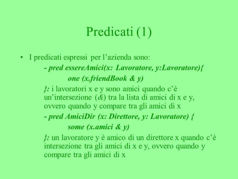 Predicati (1) I predicati espressi per lazienda sono: - pred essereAmici(x: Lavoratore, y:Lavoratore){ one (x.friendBook & y) }: i lavoratori x e y sono amici quando cè unintersezione (&) tra la lista di amici di x e y, ovvero quando y compare tra gli amici di x - pred AmiciDir (x: Direttore, y: Lavoratore) { some (x.amici & y) }: un lavoratore y è amico di un direttore x quando cè intersezione tra gli amici di x e y, ovvero quando y compare tra gli amici di x