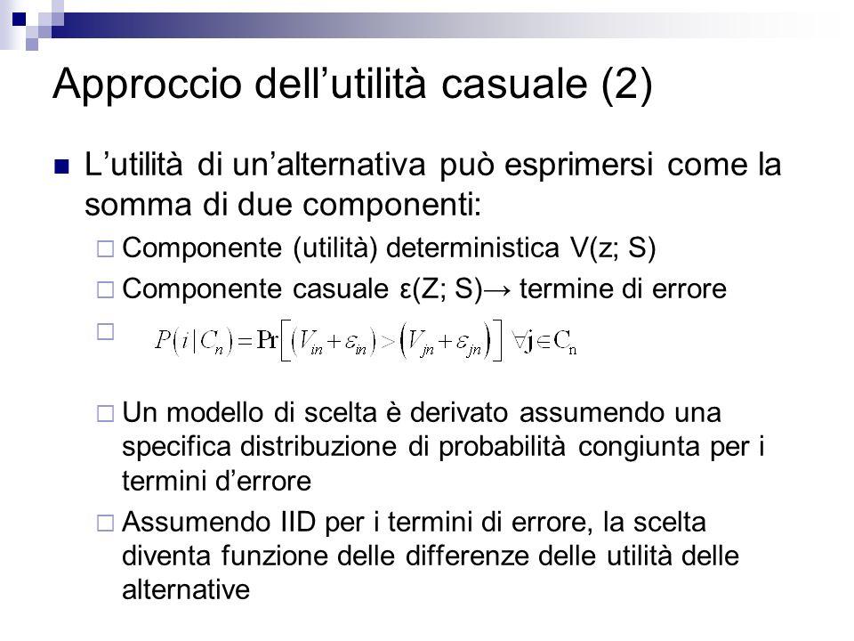 Approccio dellutilità casuale (2) Lutilità di unalternativa può esprimersi come la somma di due componenti: Componente (utilità) deterministica V(z; S) Componente casuale ε(Z; S) termine di errore Un modello di scelta è derivato assumendo una specifica distribuzione di probabilità congiunta per i termini derrore Assumendo IID per i termini di errore, la scelta diventa funzione delle differenze delle utilità delle alternative