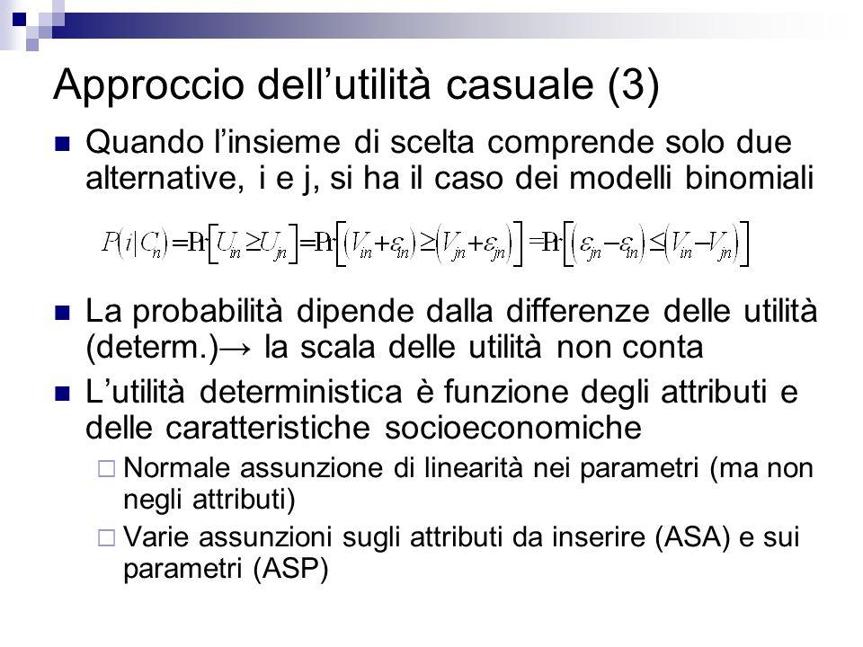 Approccio dellutilità casuale (3) Quando linsieme di scelta comprende solo due alternative, i e j, si ha il caso dei modelli binomiali La probabilità dipende dalla differenze delle utilità (determ.) la scala delle utilità non conta Lutilità deterministica è funzione degli attributi e delle caratteristiche socioeconomiche Normale assunzione di linearità nei parametri (ma non negli attributi) Varie assunzioni sugli attributi da inserire (ASA) e sui parametri (ASP)