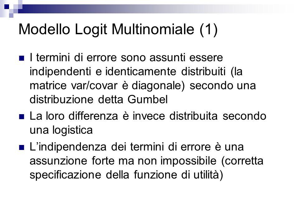 Modello Logit Multinomiale (1) I termini di errore sono assunti essere indipendenti e identicamente distribuiti (la matrice var/covar è diagonale) secondo una distribuzione detta Gumbel La loro differenza è invece distribuita secondo una logistica Lindipendenza dei termini di errore è una assunzione forte ma non impossibile (corretta specificazione della funzione di utilità)