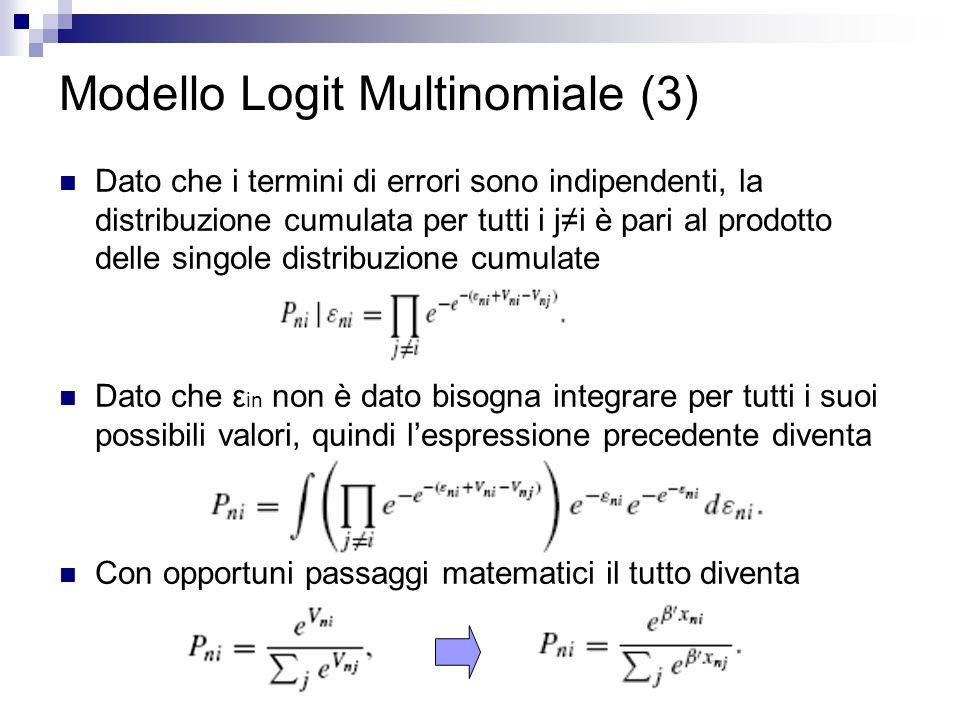 Modello Logit Multinomiale (3) Dato che i termini di errori sono indipendenti, la distribuzione cumulata per tutti i ji è pari al prodotto delle singole distribuzione cumulate Dato che ε in non è dato bisogna integrare per tutti i suoi possibili valori, quindi lespressione precedente diventa Con opportuni passaggi matematici il tutto diventa