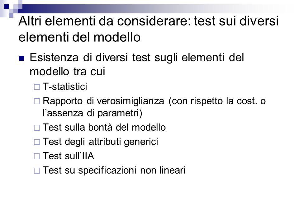 Altri elementi da considerare: test sui diversi elementi del modello Esistenza di diversi test sugli elementi del modello tra cui T-statistici Rapporto di verosimiglianza (con rispetto la cost.