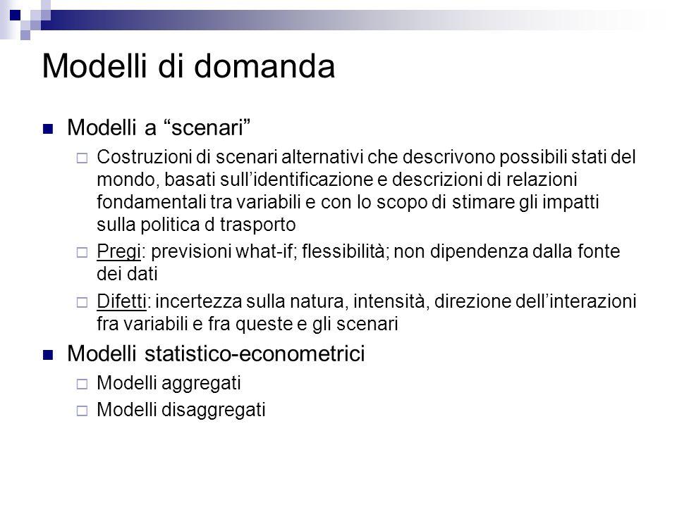 Modelli di domanda Modelli a scenari Costruzioni di scenari alternativi che descrivono possibili stati del mondo, basati sullidentificazione e descriz