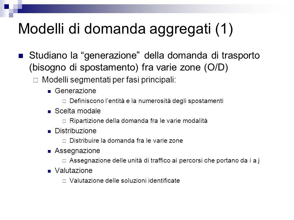 Modelli di domanda aggregati (1) Studiano la generazione della domanda di trasporto (bisogno di spostamento) fra varie zone (O/D) Modelli segmentati p