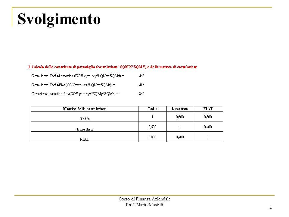 Corso di Finanza Aziendale Prof.Mario Mustilli Svolgimento 4 Corso di Finanza Aziendale Prof.