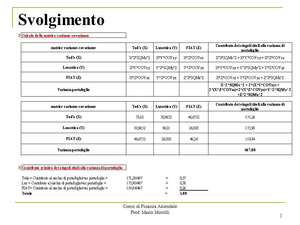 Corso di Finanza Aziendale Prof.Mario Mustilli Svolgimento 5 Corso di Finanza Aziendale Prof.