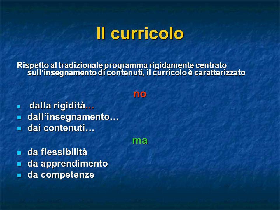 Il curricolo Rispetto al tradizionale programma rigidamente centrato sullinsegnamento di contenuti, il curricolo è caratterizzato no dalla rigidità… d