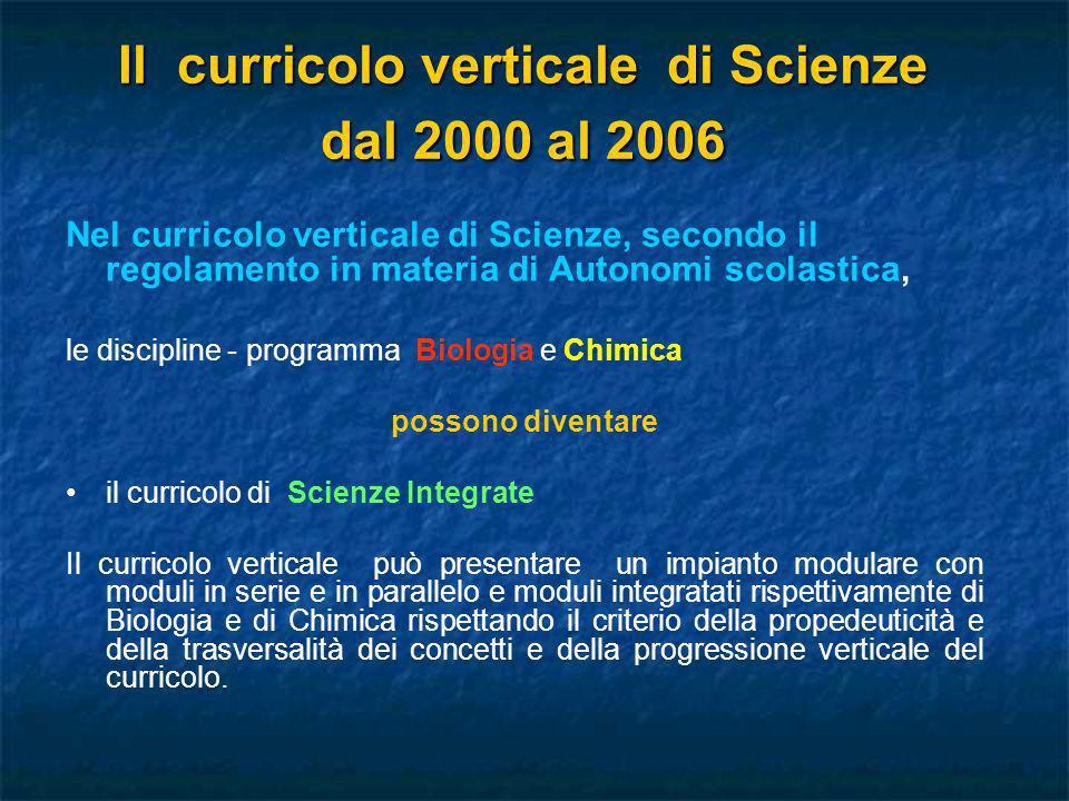 Il curricolo verticale di Scienze dal 2000 al 2006 Nel curricolo verticale di Scienze, secondo il regolamento in materia di Autonomi scolastica, le di