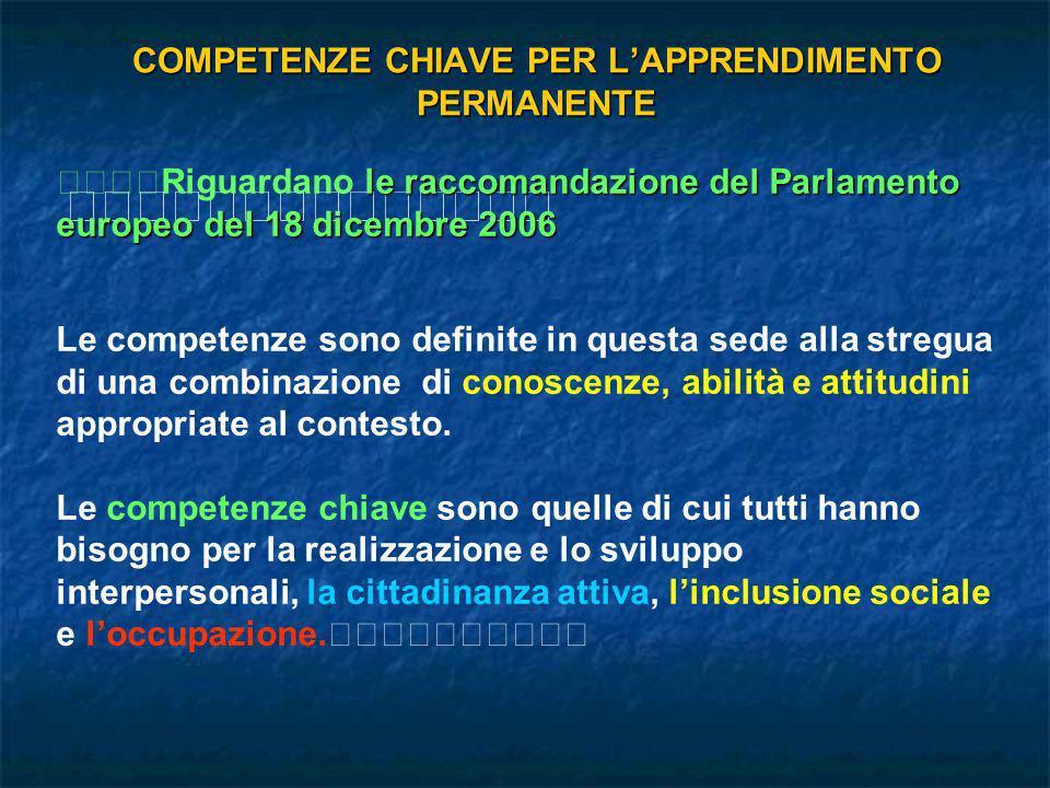 COMPETENZE CHIAVE PER LAPPRENDIMENTO PERMANENTE le raccomandazione del Parlamento europeo del 18 dicembre 2006 Riguardano le raccomandazione del Parla