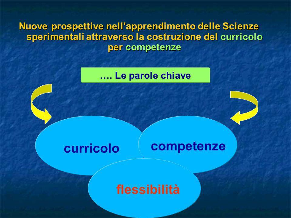 Nuove prospettive nell'apprendimento delle Scienze sperimentali attraverso la costruzione del curricolo per competenze …. Le parole chiave curricolo c