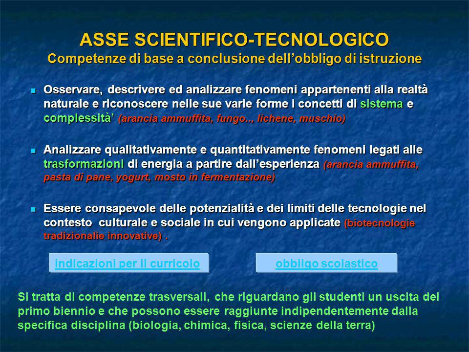 ASSE SCIENTIFICO-TECNOLOGICO Competenze di base a conclusione dellobbligo di istruzione Osservare, descrivere ed analizzare fenomeni appartenenti alla