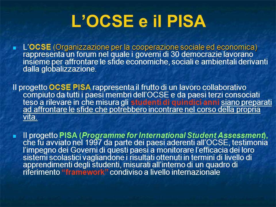 LOCSE e il PISA Organizzazione per la cooperazione sociale ed economica) LOCSE (Organizzazione per la cooperazione sociale ed economica) rappresenta u