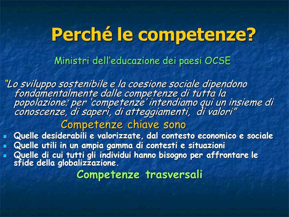 Perché le competenze? Ministri delleducazione dei paesi OCSE Ministri delleducazione dei paesi OCSE Lo sviluppo sostenibile e la coesione sociale dipe