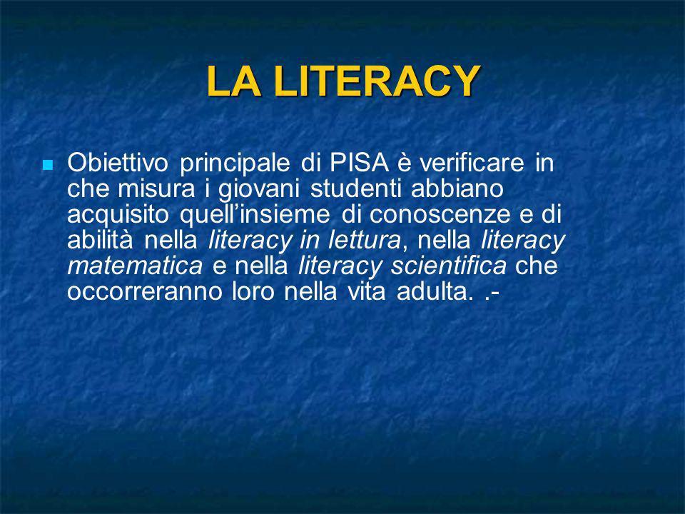 LA LITERACY Obiettivo principale di PISA è verificare in che misura i giovani studenti abbiano acquisito quellinsieme di conoscenze e di abilità nella