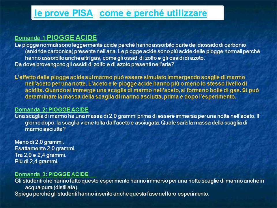 le prove PISAle prove PISA: come e perché utilizzarecome e perché utilizzare Domanda 1 PIOGGE ACIDE Le piogge normali sono leggermente acide perché ha