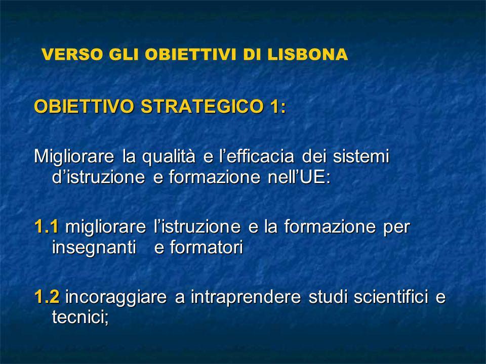 OBIETTIVO STRATEGICO 1: Migliorare la qualità e lefficacia dei sistemi distruzione e formazione nellUE: 1.1 migliorare listruzione e la formazione per