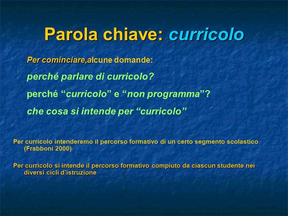 Parola chiave: curricolo Per curricolo intenderemo il percorso formativo di un certo segmento scolastico (Frabboni 2000) Per curricolo si intende il p