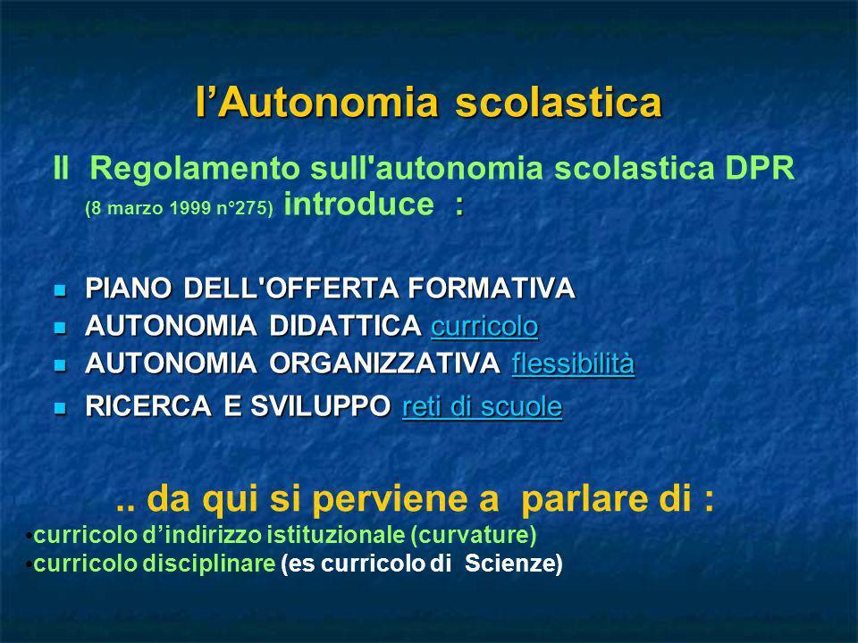 lAutonomia scolastica : Il Regolamento sull'autonomia scolastica DPR (8 marzo 1999 n°275) introduce : PIANO DELL'OFFERTA FORMATIVA PIANO DELL'OFFERTA