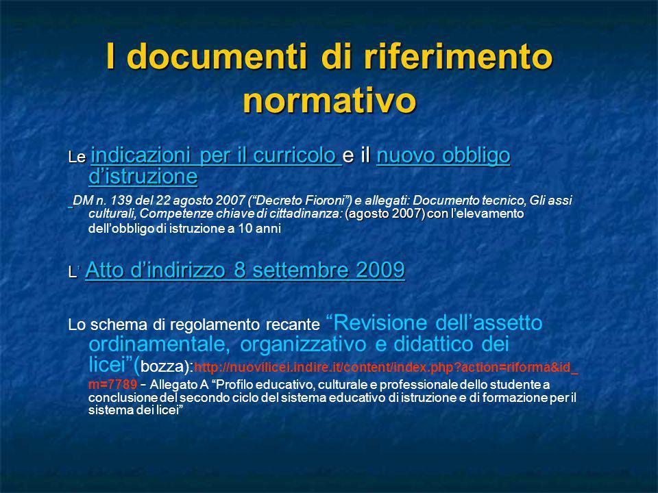 I documenti di riferimento normativo Le indicazioni per il curricolo e il nuovo obbligo distruzione indicazioni per il curricolo nuovo obbligo distruz