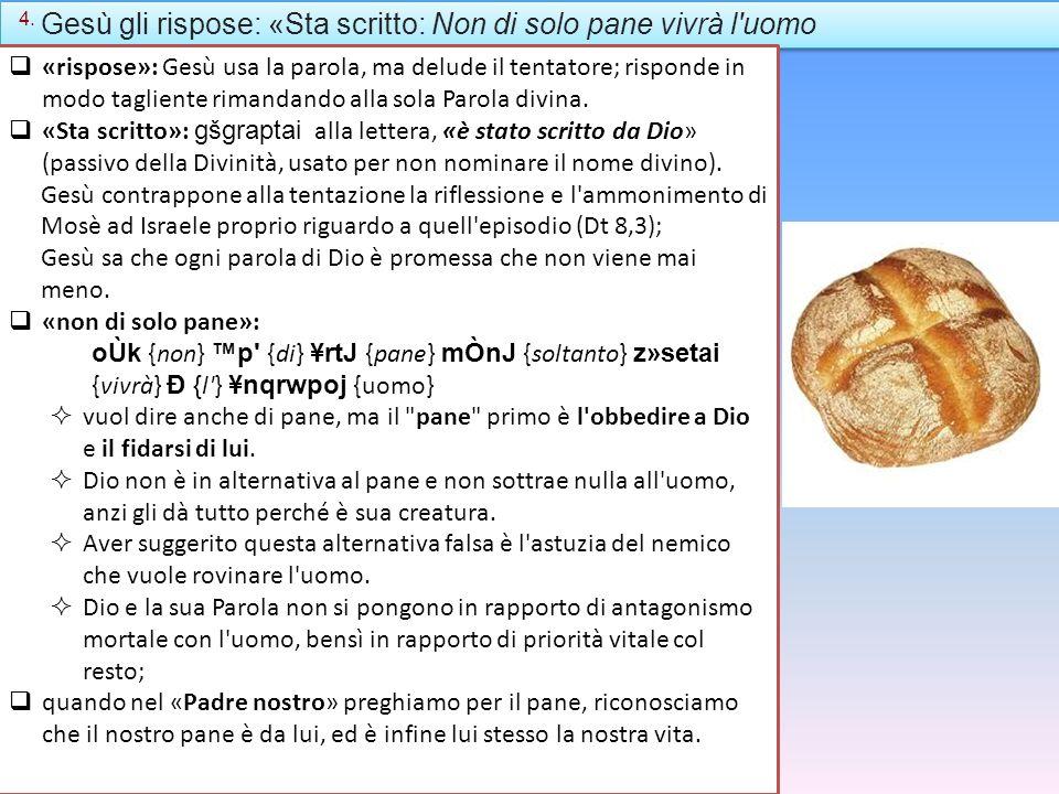 4. Gesù gli rispose: «Sta scritto: Non di solo pane vivrà l'uomo «rispose»: Gesù usa la parola, ma delude il tentatore; risponde in modo tagliente rim
