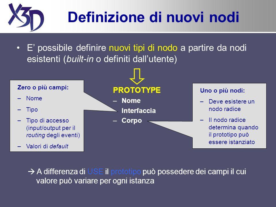 Definizione di nuovi nodi E possibile definire nuovi tipi di nodo a partire da nodi esistenti (built-in o definiti dallutente) PROTOTYPE –Nome –Interf