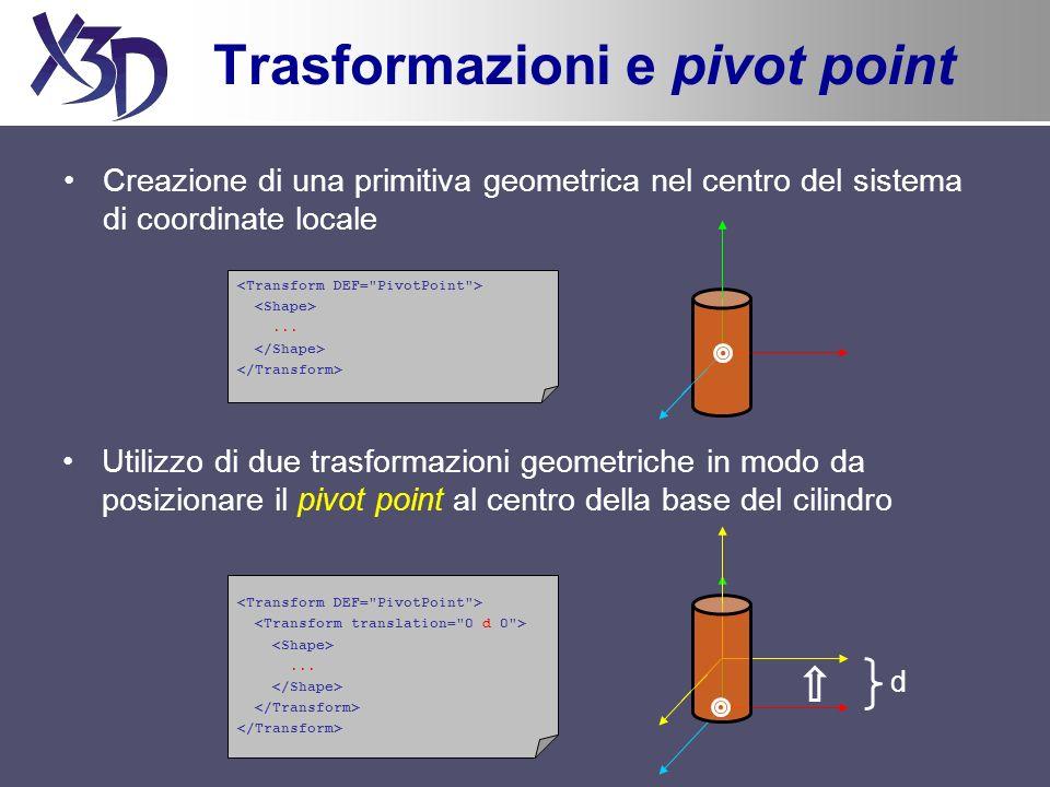 Esercizio Creazione di un piano –Box: 10m x 1cm x 10m Creazione di una colonna –Raggio: 30cm –Altezza: 2.5m –Appoggiata sul piano –Pivot point nella base Clonazione della colonna –Posizionamento nel piano di varie istanze della colonna