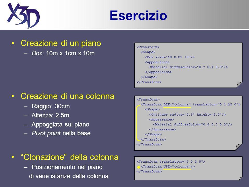 TouchSensor Rileva quando lutente punta ad un oggetto figlio del nodo padre del sensore Utile soprattutto per la creazione di pulsanti TouchSensor : X3DTouchSensorNode{ SFString [in,out] description SFBool[in,out] enabledTRUE SFVec3f [out] hitNormal_changed SFVec3f [out] hitPoint_changed SFVec3f[out]hitTexCoord_changed SFBool[out]isActive SFBool[out]isOver SFTime[out]touchTime...