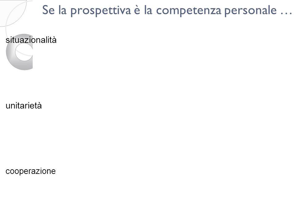 Se la prospettiva è la competenza personale … situazionalità unitarietà cooperazione